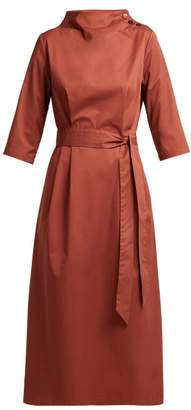 Albus Lumen - Nina Belted Cotton Dress - Womens - Dark Red