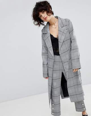 J.o.a. Wrap Mac Jacket In Suit Check Co-Ord