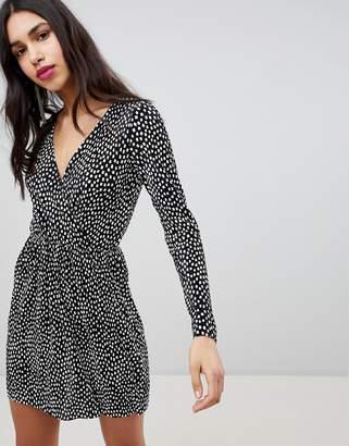 Asos Design DESIGN Plisse Wrap Dress In Blurred Spot Print