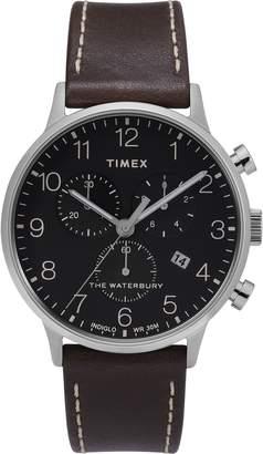 Timex R) Waterbury Chronograph Leather Strap Watch, 40mm