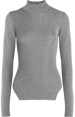 Mugler - Metallic Ribbed Stretch-knit Turtleneck Sweater - Silver $500 thestylecure.com