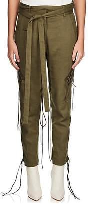Saint Laurent Women's Cotton-Linen Twill Lace-Up Pants - Green