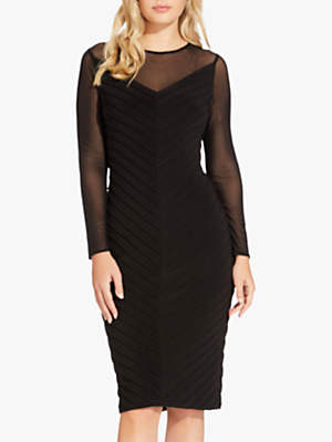 Mitered Pintuck Dress, Black