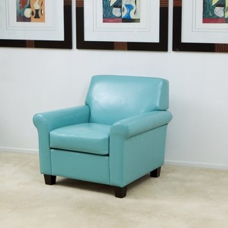 Noble House Woodbridge Oversized Teal Blue Bonded Leather Club Chair