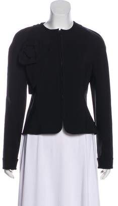 Valentino Rosette-Accented Zip-Up Jacket