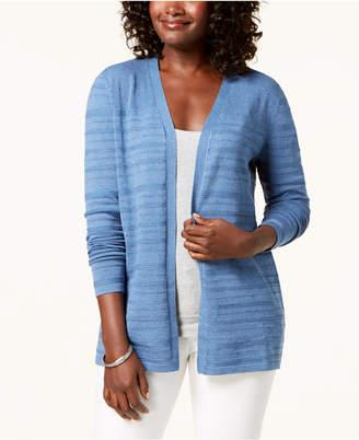Karen Scott Open-Front Pointelle Knit Cardigan, Created for Macy's