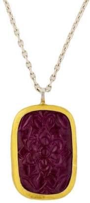 Gurhan Carved Ruby Pendant Necklace