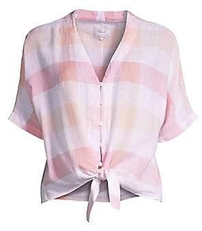 Rails Women's Thea Gingham Linen Tie-Front Shirt