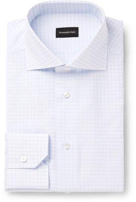 Ermenegildo Zegna Light-Blue Gingham Cotton Shirt