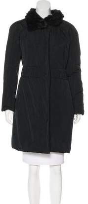 Nina Ricci Rabbit Fur-Trimmed Insulated Coat