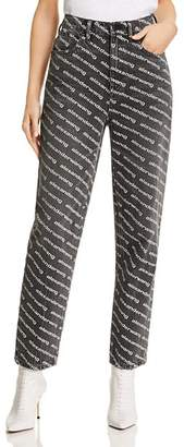 Alexander Wang Bluff High-Waisted Classic Jeans in Gray/White