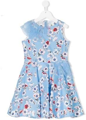 Simonetta tulle-trimmed floral-print dress