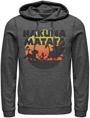 Licensed Character Men's Disney Lion King Hakuna Matata Silhouette Retro Group Shot Hoodie