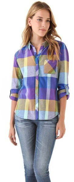 C&C California Brushed Colorblock Plaid Shirt