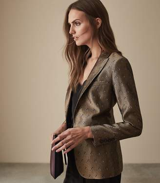 Reiss Our last order date for Christmas has now passed ZIRCON METALLIC JACQUARD BLAZER Gold