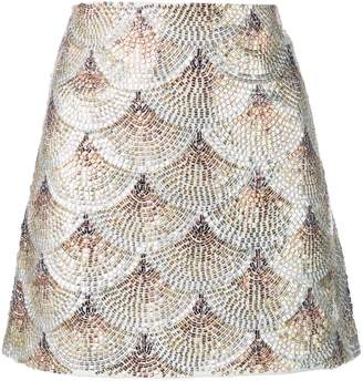 Oscar de la Renta embellished fan skirt