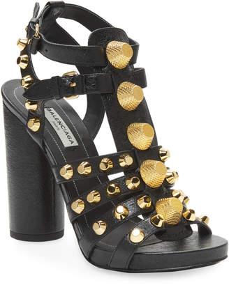 Balenciaga Studded Leather Block-Heel Sandal