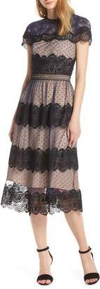 Chelsea28 Mixed Lace Midi Dress