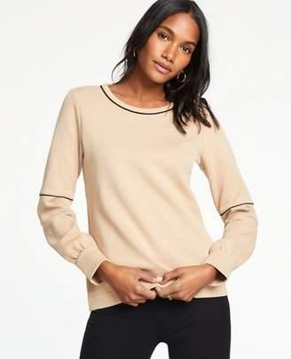 Ann Taylor Petite Piped Lantern Sleeve Sweatshirt