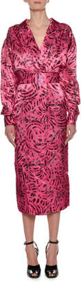 Marni Long-Sleeve Cat-Print Reverse Satin Ankle-Length Dress