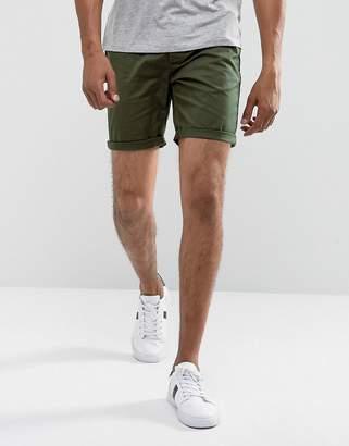 Asos DESIGN slim chino shorts in dark khaki