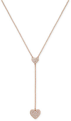 "Kate Spade Gold-Tone Pavé Heart Y Necklace, 16"" + 3"" extender"