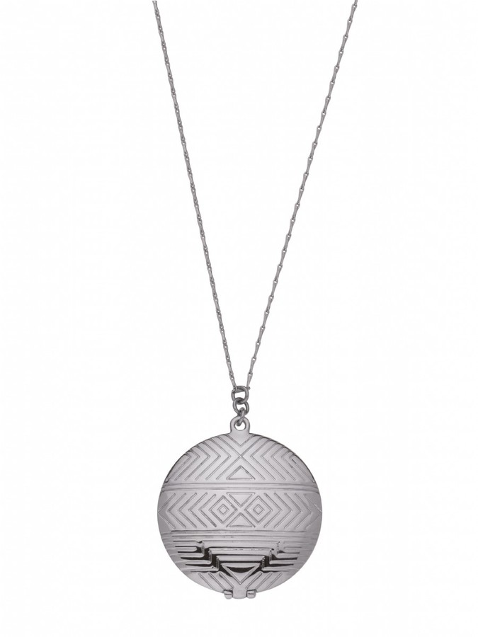 House Of Harlow Medallion Locket Necklace Silver