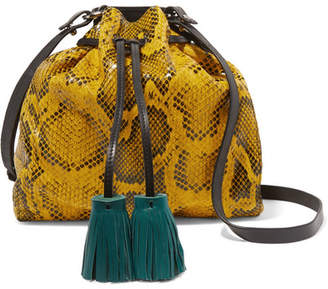 Isabel Marant Beeka Tasseled Snake-effect Leather Shoulder Bag - Yellow