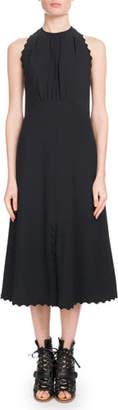 Chloé Sleeveless Halter Light-Cady Ankle-Length Dress w/ Scalloped Edges
