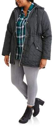 Generic Women's Plus-Size Quilted Anorak Jacket with Hood