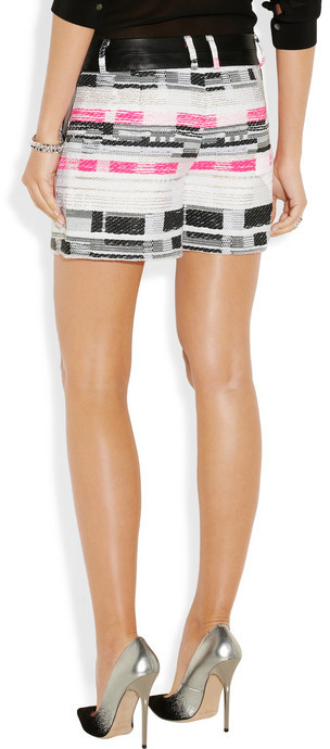 Milly Leather-trimmed tweed shorts