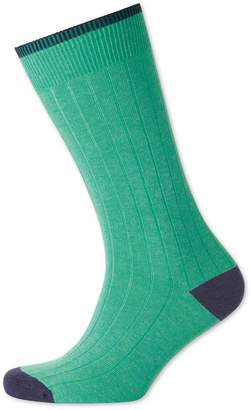 Charles Tyrwhitt Bright Mint Cotton Rib Socks Size Large