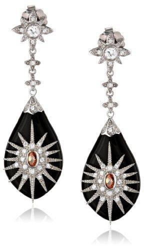 "Marquis Miriam Salat ""Classic Black, Rhodium and Champagne Cubic Zirconia Drop Earrings"