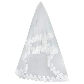 Ridsmc 1.5m Wedding Veil Short Bridal Veil Lace Appliques Wedding Veil