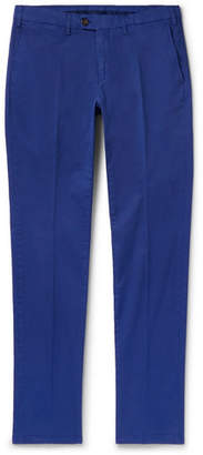 Canali Slim-fit Stretch-cotton Twill Chinos - Blue