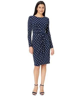Lauren Ralph Lauren Barton Dot Matte Jersey Svetlana Long Sleeve Day Dress