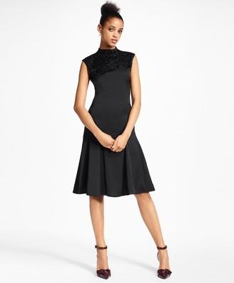 Brooks Brothers Petite Beaded Satin A-Line Dress