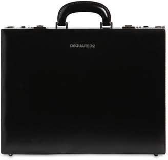 DSQUARED2 Leather Briefcase W/ Webbing Strap
