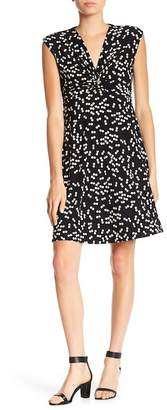 Anne Klein Dot Print Twist Front Dress