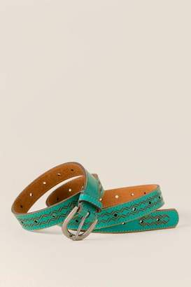 francesca's Nala Etched Diamond Belt - Turquoise