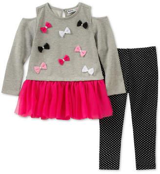 Kids Headquarters Baby Girls 2-Pc. Cold-Shoulder Bows Tunic & Leggings Set