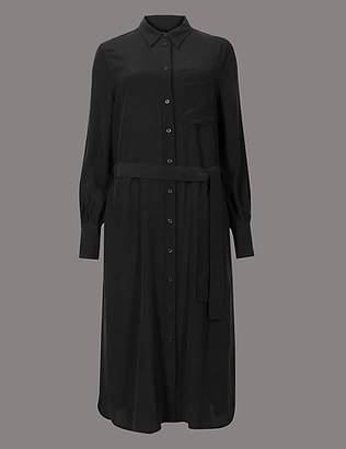 Autograph Pure Silk Long Sleeve Shirt Dress with Belt