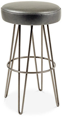 Le-Coterie Hairpin Swivel Barstool - Pewter/Charcoal Leather