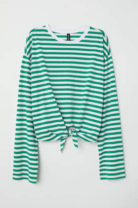 H&M Tie-hem Top - Green