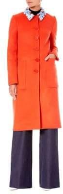Carolina Herrera Wool Embellished-Collar Coat