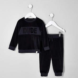 River Island Mini boys navy velour sweatshirt outfit