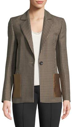 Escada Plaid Button-Front Lined Blazer