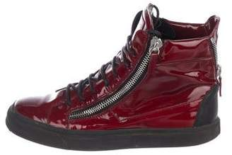 Giuseppe Zanotti Patent-Leather High-Top Sneakers