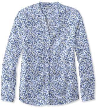 L.L. Bean L.L.Bean Wrinkle-Free Pinpoint Oxford Shirt, Long-Sleeve Splitneck Slightly Fitted Floral