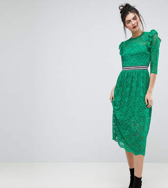 Asos Tall TALL Midi Lace Tea Dress with Sports Tipping